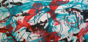 Gestural painting in aqua, red and black
